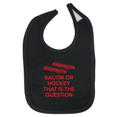 Mashed-Clothing-Unisex-Baby-Bacon-Or-Hockey-That-Is-The-Question-Cotton-Baby-Bib-Black-0