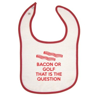 Mashed-Unisex-Baby-Bacon-Or-Golf-That-Is-The-Question-Red-Piping-Bib-0