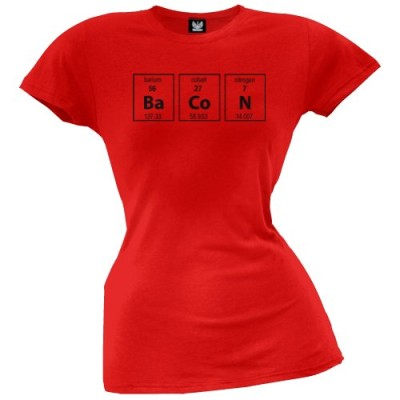 Old-Glory-Womens-Bacon-Periodic-Table-Juniors-T-shirt-X-Large-Red-0