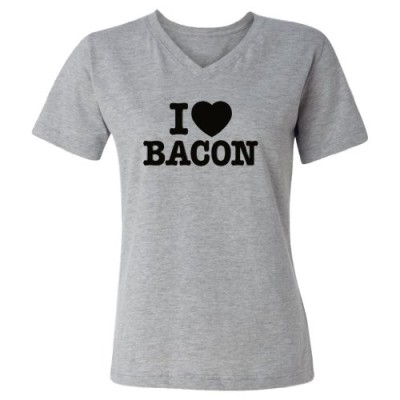 Tasty-Threads-I-Love-Heart-Bacon-Black-Print-Womens-V-Neck-T-Shirt-Heather-Grey-Large-0