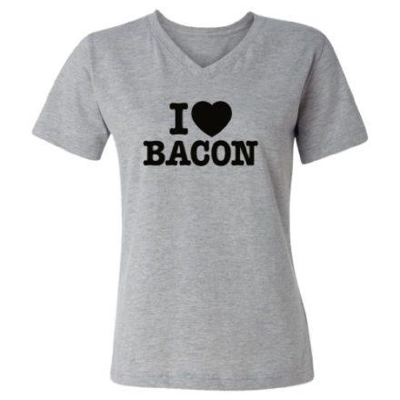 Tasty-Threads-I-Love-Heart-Bacon-Black-Print-Womens-V-Neck-T-Shirt-Heather-Grey-Large-0