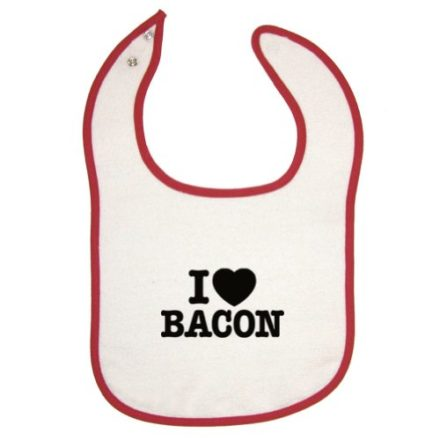 Tasty-Threads-Unisex-Baby-I-Love-Heart-Bacon-Black-Print-Red-Piping-Bib-0