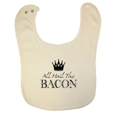 Tasty-Threads-Unisex-Baby-Organic-Baby-Bib-All-Hail-The-Bacon-Black-Print-0