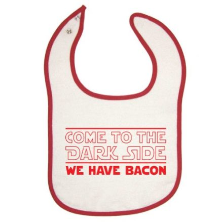 Tasty-Threads-Unisex-Baby-Red-Piping-Bib-Come-To-The-Dark-Side-We-Have-Bacon-0