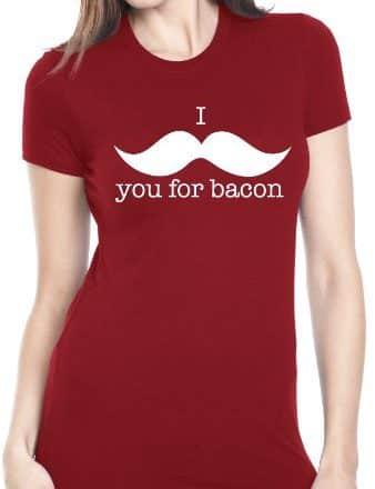 Womens-I-Mustache-You-For-Bacon-T-Shirt-Womens-Funny-Bacon-Shirt-M-0