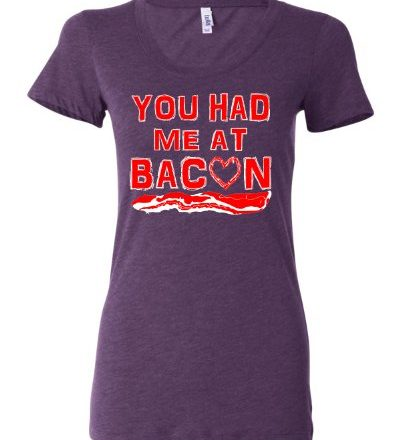 X-Large-Purple-Womens-You-Had-Me-At-Bacon-Tri-Blend-T-shirt-0