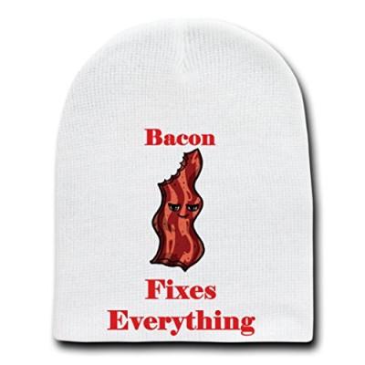 Bacon-Fixes-Everything-Food-Humor-Cartoon-White-Beanie-Skull-Cap-Hat-0