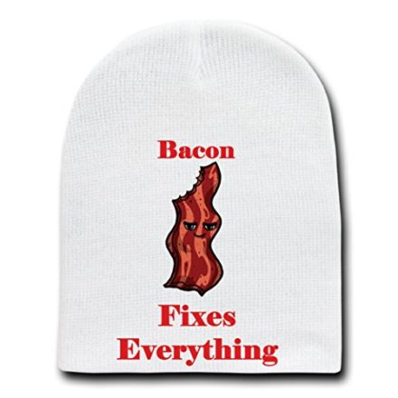 Bacon-Fixes-Everything-Food-Humor-Cartoon-White-Beanie-Skull-Cap-Hat-0
