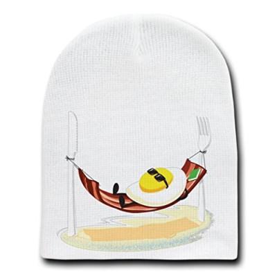Good-Morning-Egg-Sunny-Side-Up-Relaxing-in-Bacon-Hammock-White-Beanie-Skull-Cap-Hat-0