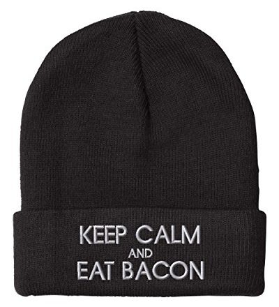 KEEP-CALM-AND-EAT-BACON-Embroidery-Embroidered-Beanie-Skully-Hat-Cap-0