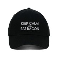 Keep-Calm-And-Eat-Bacon-Embroidered-SOFT-Unstructured-Adjustable-Hat-Cap-0