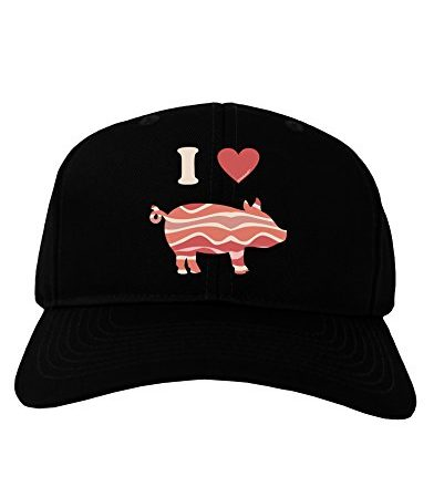 TooLoud-I-Heart-My-Bacon-Pig-Silhouette-Adult-Dark-Baseball-Cap-Hat-0