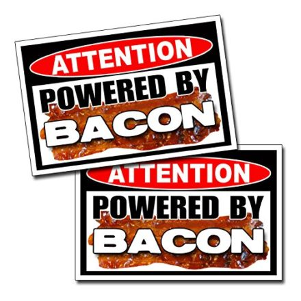 Powered-By-Bacon-Funny-Vinyl-Sticker-Decal-Pig-Love-0