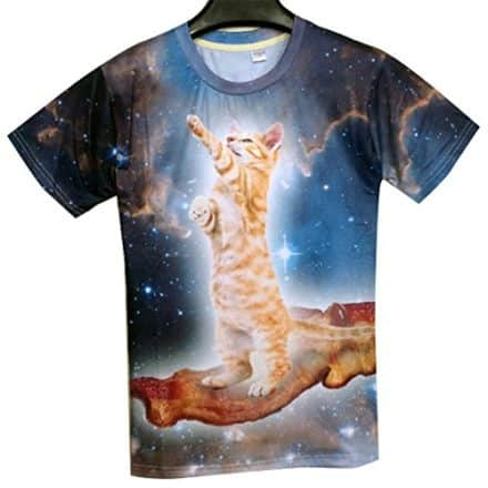 Unisex-Galaxy-Cat-and-Bacon-T-Shirt-Clothing-Women-Men-0-0