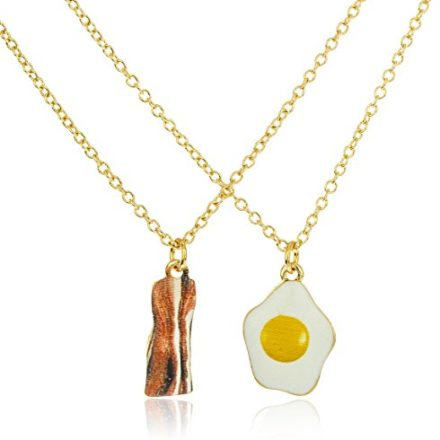 Goldtone-Bacon-and-Eggs-Best-Friend-18-Inch-Adjustable-Necklaces-0